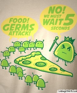 5 second rule t shirt food germs pizza
