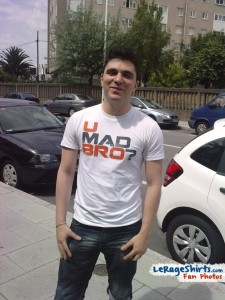 adrian from a coruña spain wearing u mad bro t-shirt