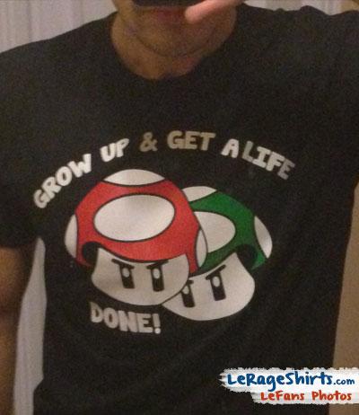 alex from florida usa wearing mario bros mushrooms funny t-shirt