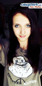 ariana from basel switzerland wearing forever alone meme ladies tee shirt