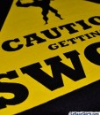 caution getting swole shirt fabric print