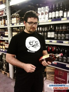den from almaty kazakhstan wearing me gusta meme t-shirt while shopping for booze