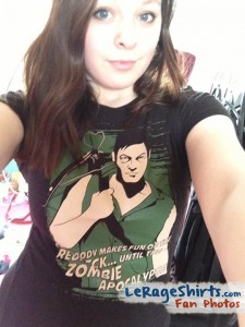 eleanor wearing daryl dixon t-shirt