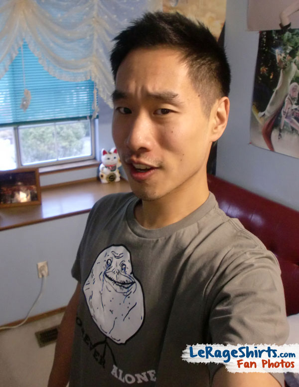 james from washington dc wearing forever alone meme t-shirt
