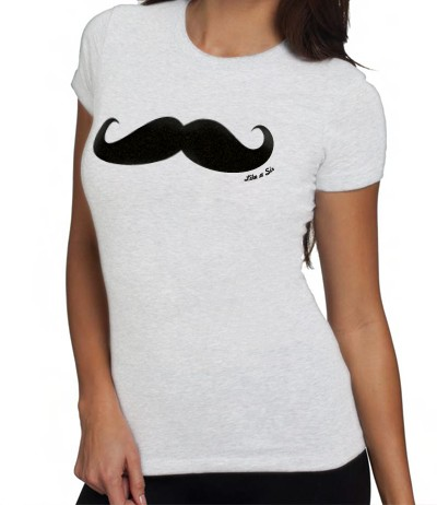 like a sir mustache t-shirt ladies