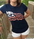 merica bacon flag t-shirt ladies