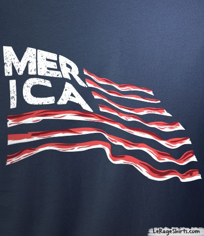 bf85612c6aa5 Merica T-Shirt feat. Flag and Bacon - Le Rage Shirts