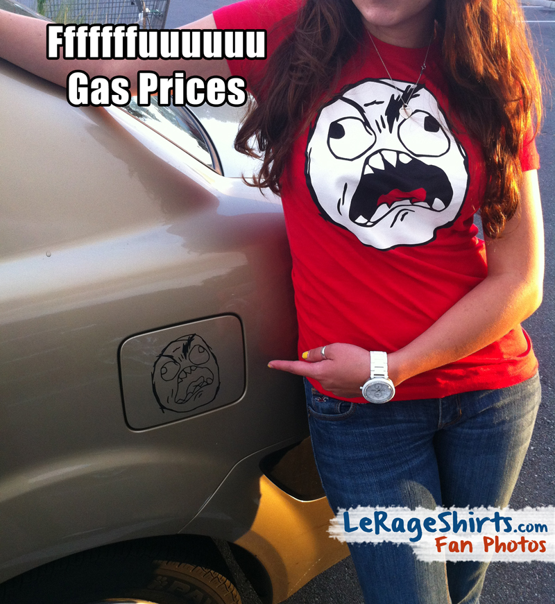 nati wearing rage guy meme t-shirt when buying gas