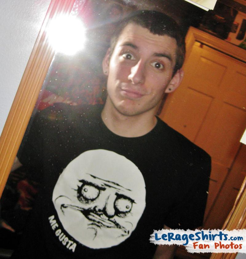 ryan from massachusetts usa wearing me gusta meme t-shirt