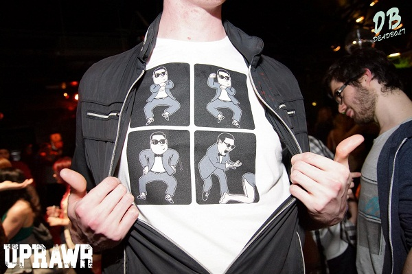 ryun from manchester england wearing gangnam style t-shirt while clubbing