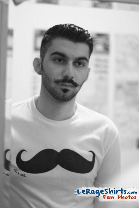 sasan wearing like a sir mustache t-shirt