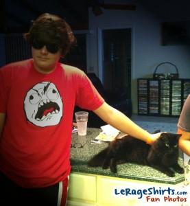 wesley from florida usa wearing rage guy meme t-shirt