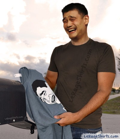 yao ming holding bitch please t-shirt