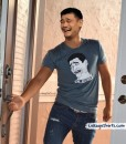 yao ming wearing own bitch please shirt door