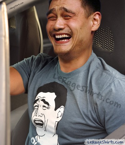 yao ming wearing own bitch please t-shirt bleachers
