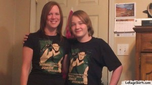Mindy and Son Wearing The Walking Dead Inspired Daryl Dixon Shirts