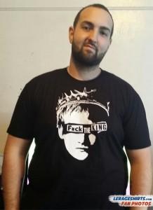 Antonios Wearing Fuck the King T-Shirt