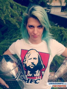Greta from Italy Wearing Hound Fried Chicken T-Shirt