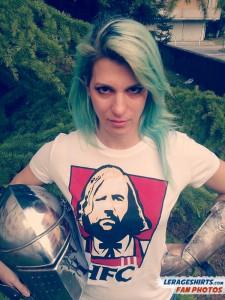Greta from Italy Wearing Hound Fried Chicken T-Shirt