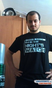 Atef from Tunisia Wearing Sorry Ladies I'm in the Night's Watch T-Shirt