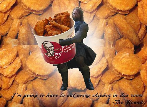 the hound carrying a bucket of kfc