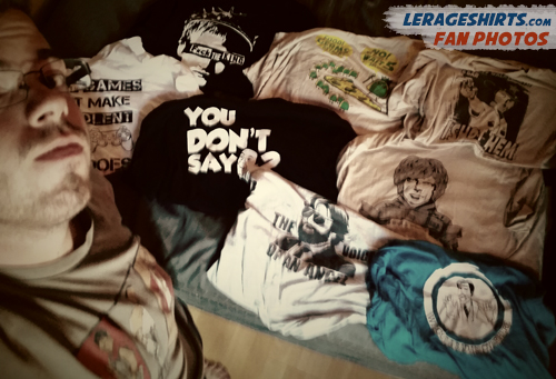 tommy from canada showing off his lerageshirts collection