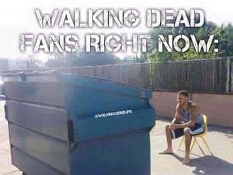 Walking Dead fans checking dumpsters.