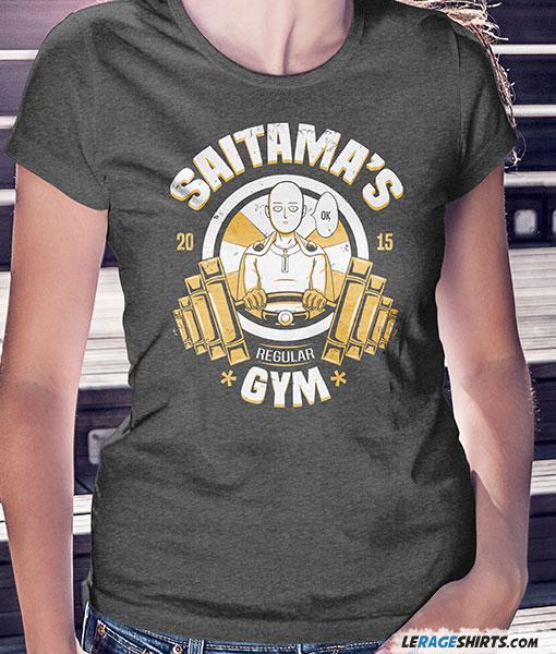 Saitama 39 s regular gym t shirt funny one punch man by for Free gym t shirts