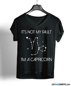 It's not my fault I'm a Capricorn T-shirt Black color shirt on a hanger