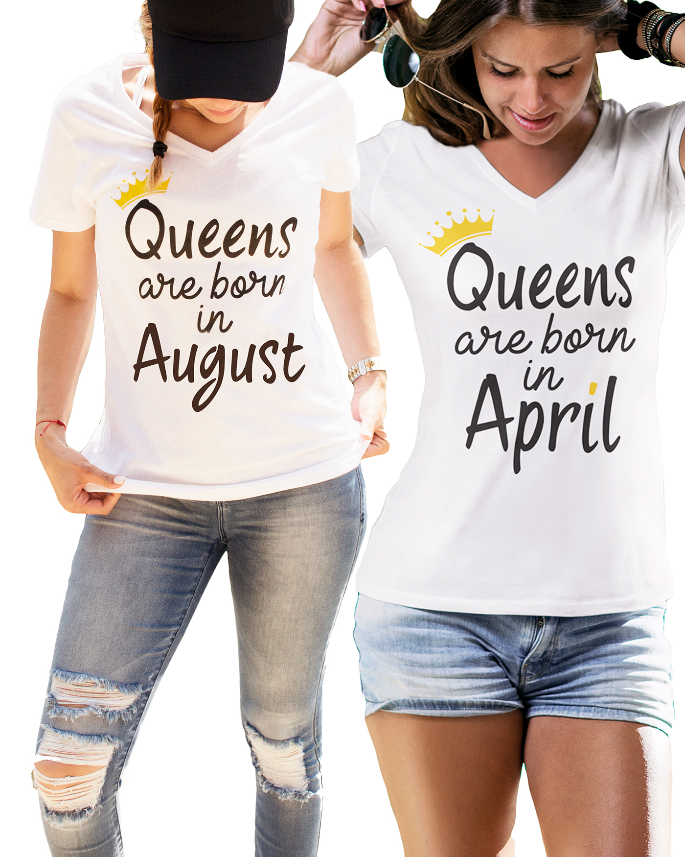 551f6a88 Queens Are Born in [Month] Shirts. Birthday Gift for Her. By LeRage Shirts
