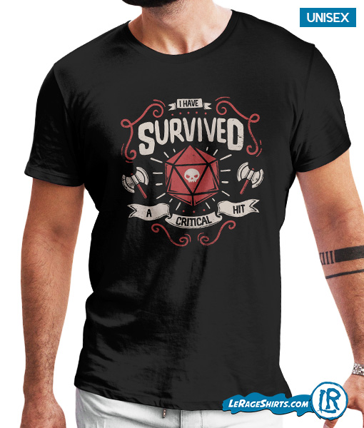 a84915d7 I Survived A Critical Hit. $19.95 $17.95. Dungeons and Dragons Critical Hit  Graphic Tee Shirt ...