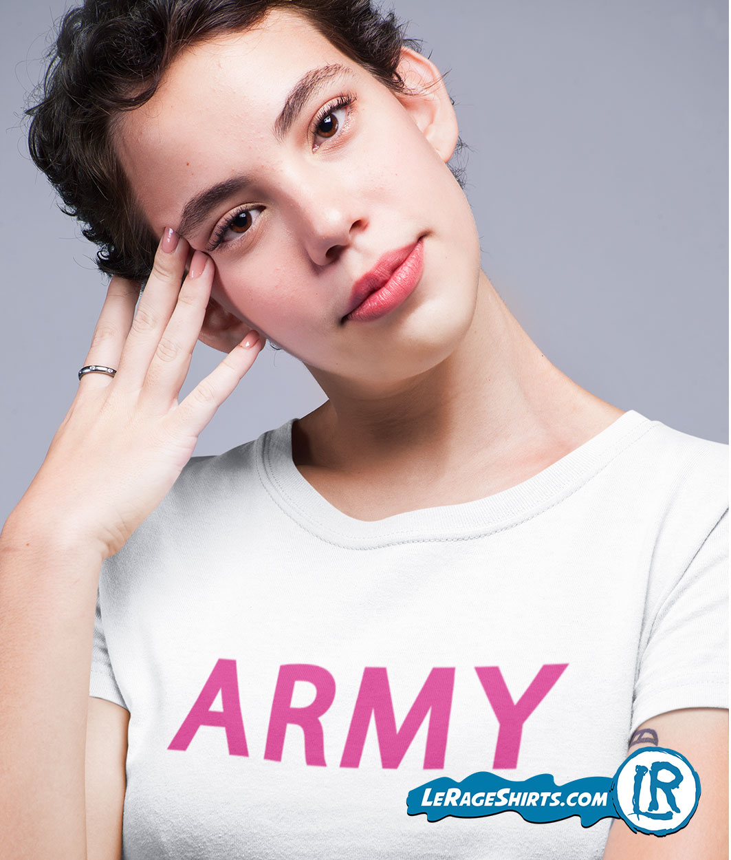 Army T Shirt For women White Color with Punk Letters
