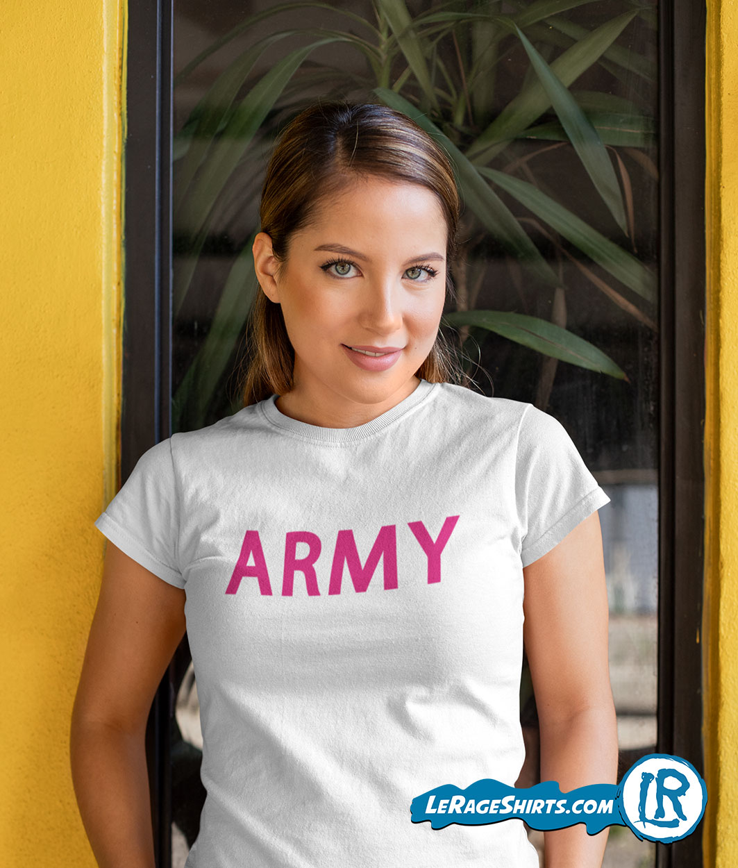 Army T Shirt White Color with Pink Letters