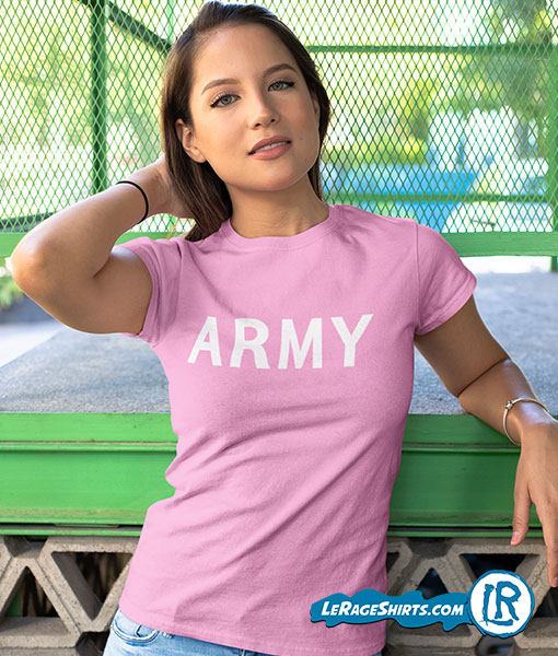 Army shirt color pink with girl white letters