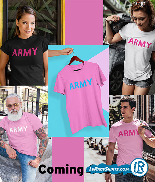 banner with all different kinds of army shirts in pink color white color and black