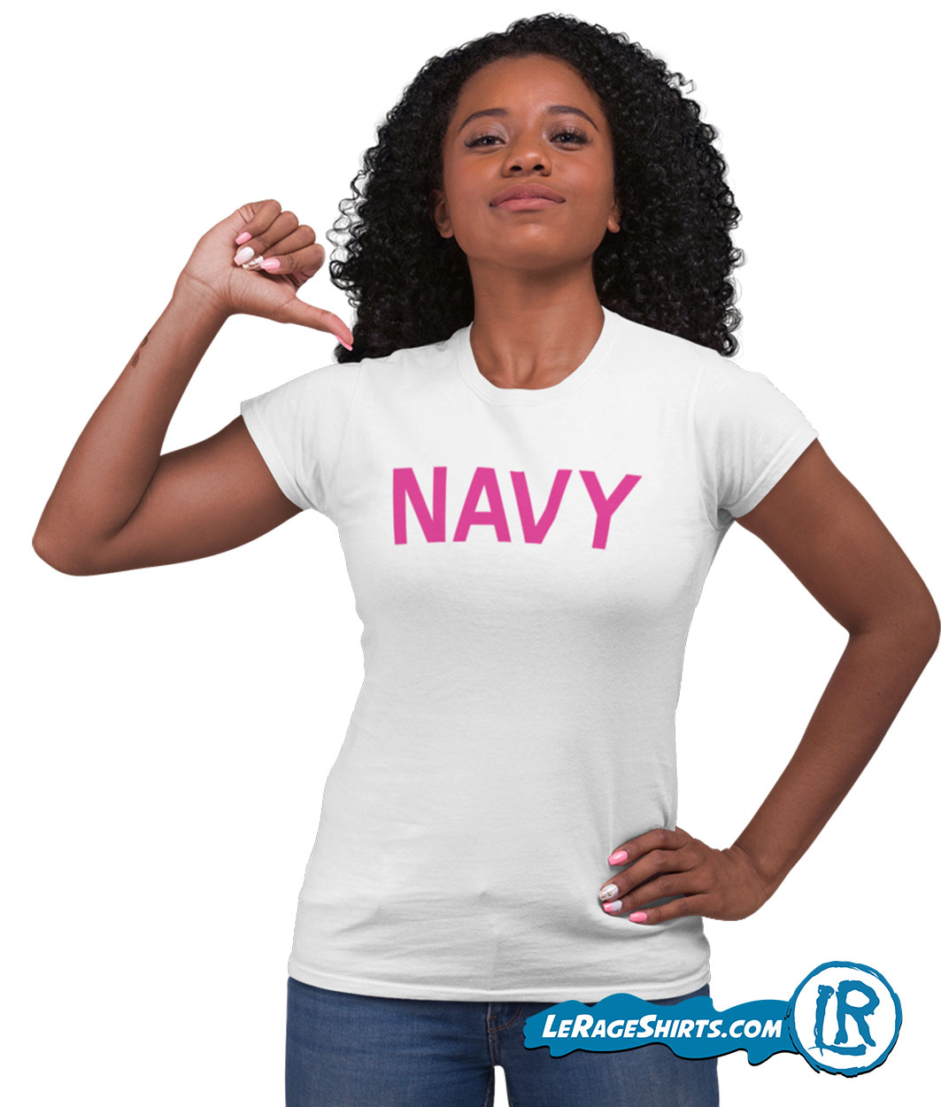 Navy T Shirt for women White with pink letters For Veterans Day Gift By LeRage Shirts Front image