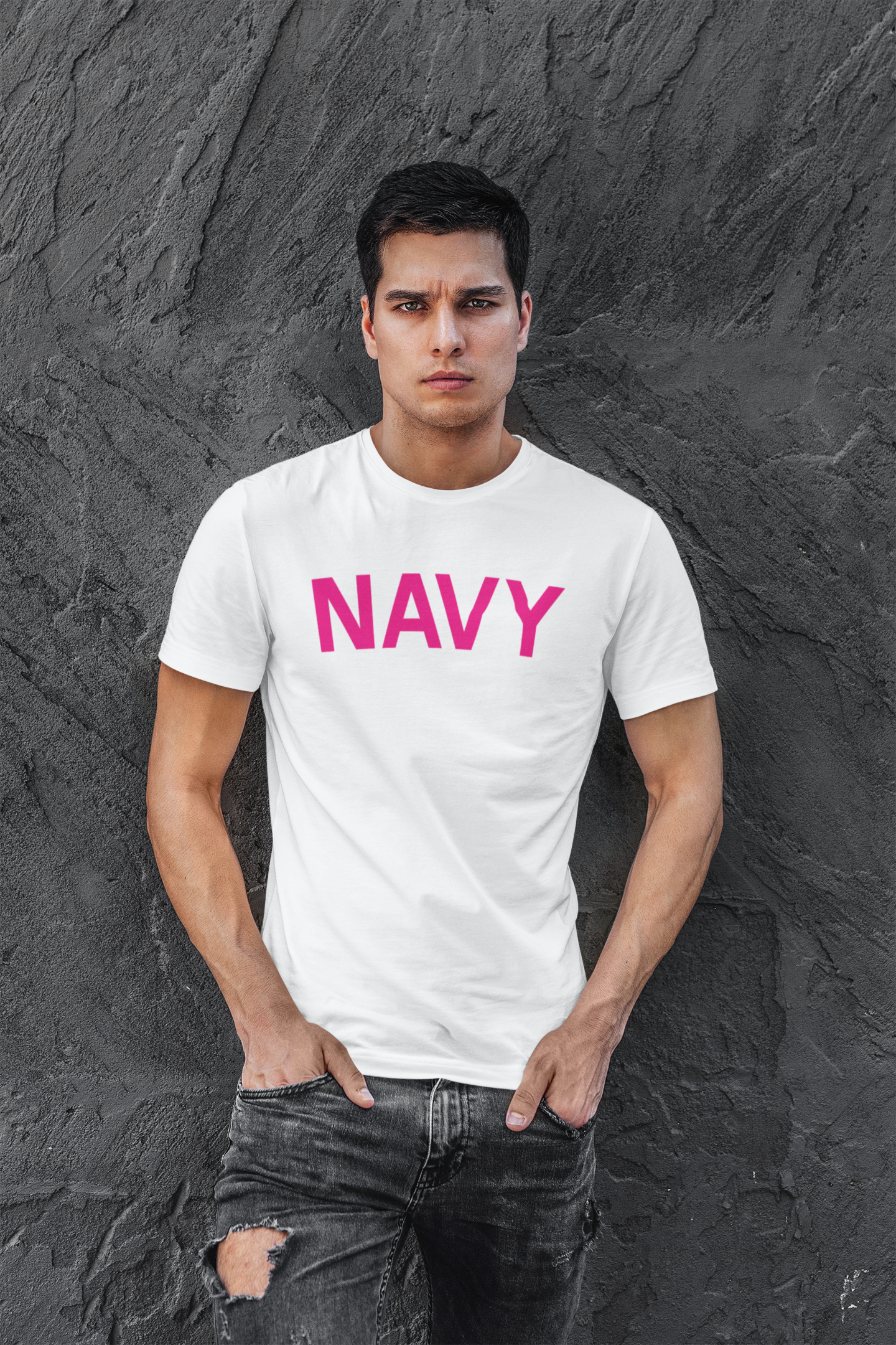 Navy T Shirt White For Veterans Day Gift By LeRage Shirts Front View
