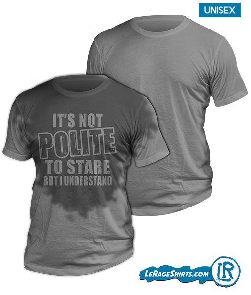 Sweat Activated Shirt with Hidden Message Its not Polite to Stare But I understand Front Image no Background PNG