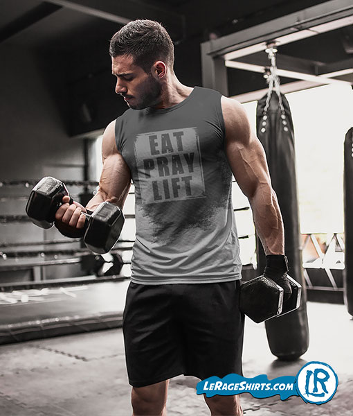 Sweat Activated T-Shirt Theme Eat Pray Lift Front Image Guy Lifting Weight