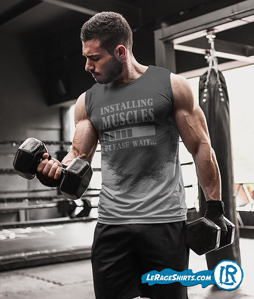 Sweat Activated T-Shirt Theme Installing Muscles Please Wait Guy Working arms
