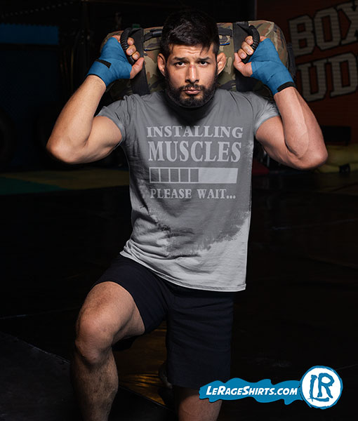 Sweat Activated T-Shirt Theme Installing Muscles Please Wait Guy MMA Fighter