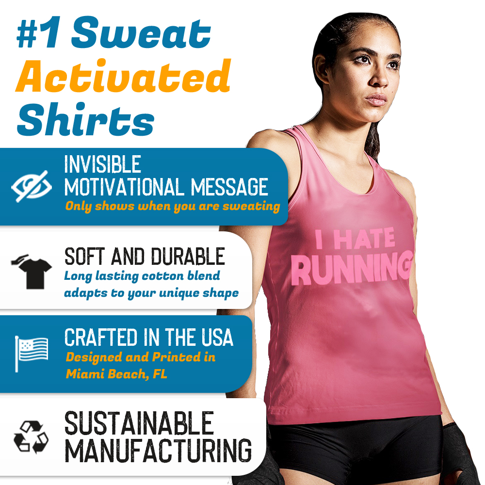 Sweat Activated Tank Top Pink With Hidden Motivational Message It's not Polite to Stare But I understand From LeRage Shirts Product Features